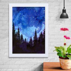 تابلو   گالری استاربوی طرح آسمان و جنگل مدل هنری KL111