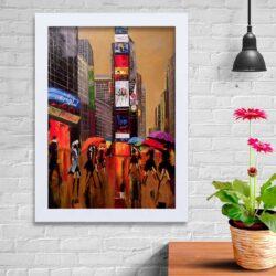 تابلو   گالری استاربوی طرح باران و شهر مدل هنری KL139