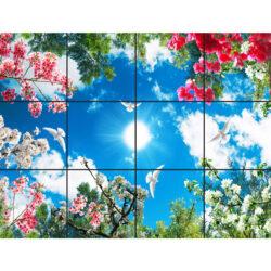 تاتایل سقفی آسمان مجازی طرح گل های رنگارنگ کد 0700 سایز 60x60 سانتی متر مجموعه 12 عددی
