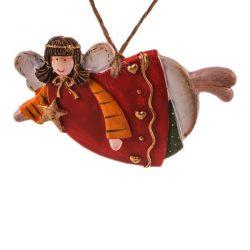 آویز سرامیکی مدل فرشته ستاره دار خوابیده با لباس قرمز