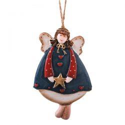 آویز سرامیکی مدل فرشته ستاره دار ایستاده با لباس سورمه ای