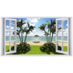 استیکر  پنجره ژیوار  طرح ساحل سبز