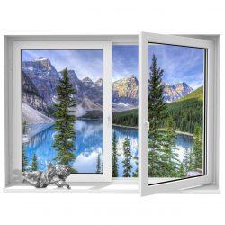 استیکر  پنجره مجازی ژیوار  طرح دریاچه زمستانی