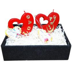 ست هدیه شمع کد Heart5501 بسته 2 عددی